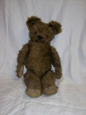 "Antique Dark Brown Mohair Teddy Bear Jointed 18"" Good Shape"