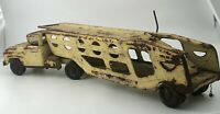 Vintage Tonka Yellow Pressed Steel Car Carrier Auto Hauler Truck Trailer Toy 28