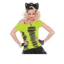 Amscan International Adults Ripped T-shirt - Tshirt Fancy Dress Ladies Neon 80s