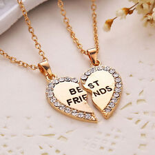 Best Friend Heart Gold Silver Crystal 2 Pendants Necklace Bff Friendship Jewelry