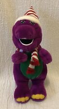 "10"" Plush Barney Wearing Christmas Hat & Scarf Lyons Partnership"