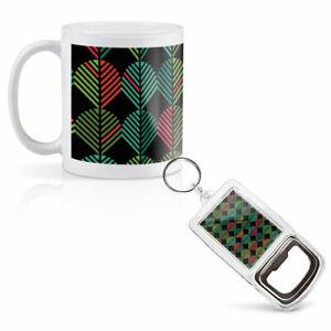 Mug & Bottle Opener-Keyring-set - Abstract Leaf Pattern Art   #2028