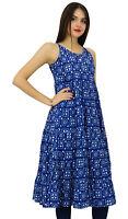 Bimba Women A-Line Flaired Cotton Dress Summer Wear Blue Printed-Rrx