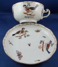 Antique Herend Porcelain Bird Scene Cup & Saucer Porzellan Tasse Scenic Hungary
