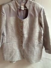 Roamans, womens size 26W, grey matalic foral disign button down skirt suit. P(3)