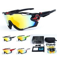 Men's 5 Pair Lens Polarized UV400 Cycling Bicycle Sunglasses Jawbreaker Goggles