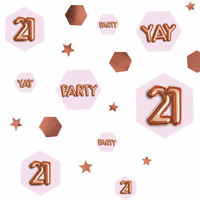 100 x 21st Rose Gold Glitz Table Scatters Confetti Ladies 21 Birthday Party