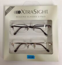 2 Pack XTRA SIGHT Wire Half Frame READING GLASSES +2.00 BRAND NEW IN PACKAGE