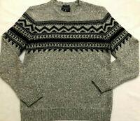American Eagle Mens Size Large Gray Black Long Sleeve Fair Isle Style Sweater
