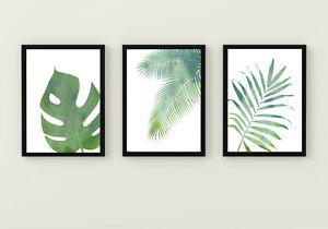 Monstera palm leaf prints green room plant decor bathroom wall art set of 3