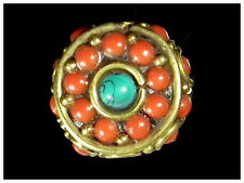 Himalayas Vintage Wheel Unique Red Coral Turquoise mala Prayer Bead