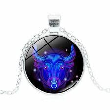 Vintage Bronze Gem Zodiac Necklace Gemstone Pendant Astrology 12 Constellation