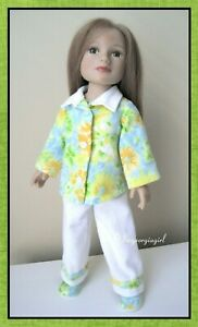 Handmade Floral 4 Pcs Flannel Pajama Outfit Ensemble for 18-inch My Salon Doll