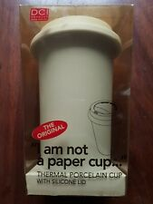 """""""I AM NOT A PAPER CUP"""" 10oz. D THERMAL PORCELAIN CUP WITH SILICONE LID-WHITE"""