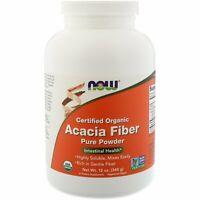 Now Foods Certified Organic Acacia Fiber Powder 12 oz 340 g GMP Quality Assured,