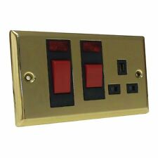 45 Amp Cooker Switch & Socket Victoria Brass With Neons Double Oven Electric