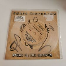 More details for bruce dickinson signed tears of the dragon 7inch clear vinyl /record