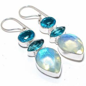 "Aqua Mystic Topaz, Blue Topaz 925 Sterling Silver Jewelry Earring 2.4"""