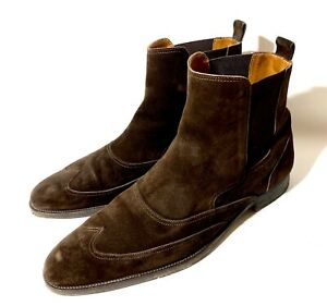 Hermès Dark-Brown Suede Leather Boots Shoes Size 44,5 UK-10,5, US-11,5