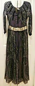 Vintage ETRO Long 100% Silk Black, Purple, & Gray Bead Belt Maxi Dress, Size 8