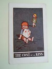 Vintage Postcard THE COST OF A KISS Artist V.W.S. Franked & Stamped 1917