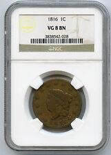 1816 Coronet 1C Large Cent NGC VG 8 BN