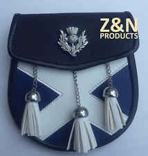 3 Borlas Escocés Kilt Sporran, Azul & White Cross, Insignia de cardo Crest + Cinturón Set