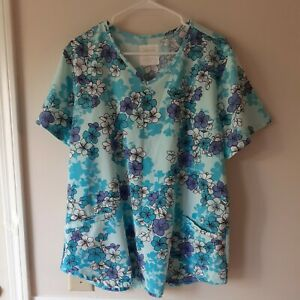 SALE* Cherokee Women's Scrub Top Blue Floral Print  Polyester Spandex NEW
