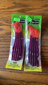 "Vintage Mister Twister Phenom Soft Plastic 6"" Worms 2x packs purple firetail"