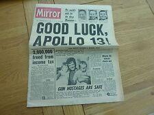 1970 APRIL 15 DAILY MIRROR NEWSPAPER GOOD LUCK APOLLO 13 100% ORIGINAL