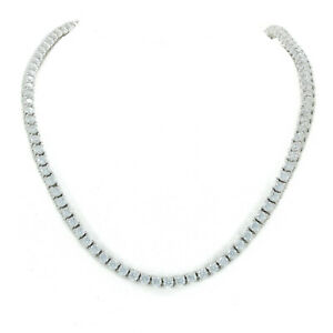 Unisex Tennis Necklace Silver Finish Lab Diamonds 3mm Choker Chain 16 inches
