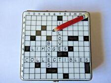 Peint Main Limoges Trinket-Crossword Puzzle Box