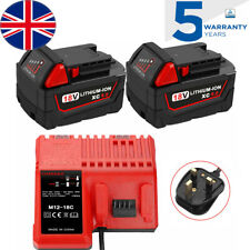 2x For Milwaukee 18V Battery 6.0Ah M18 M18B6 48-11-1828+Charger M12-18C M12-18FC