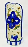 Vintage Handmade Wind Protected Ceramic Blue Flower Hangable Candle Holder