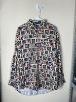 Mens Large Chaps Ralph Lauren Skiing All Over Print Long Sleeve Button Up Shirt