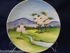 """VINTAGE 8 1/4"""" DECORATIVE HAND PAINTED PLATE-MOUNTAIN W. SPRING TREES-MARKED"""