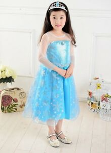 Robe Déguisement Costume Bleu Reine Neiges Frozen Elsa Fille Princesse Noel yp06