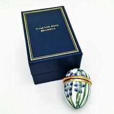 Halcyon Days Bluebells Egg Shaped Enameled Box with Original Box