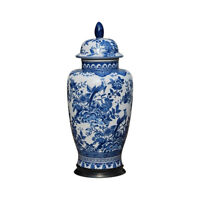 """Beautiful Blue and White Floral and Bird Motif Porcelain Temple Jar w Base 16"""""""