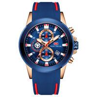 Men's Business Quartz Sports Waterproof Chronograph Watch Silicon Band Blue