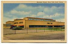 Vintage Linen Postcard: Municipal Airport, Soo Falls, South Dakota