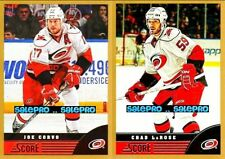 2x SCORE 2013 JOE CORVO #88 CHAD LAROSE #76 CAROLINA HURRICANES GOLD CARD LOT