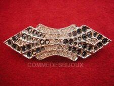 """Broche """"Style Art Déco"""" N° 4 Pavé cristal Blanc Convexe - Bijoux Vintage Sphinx"""