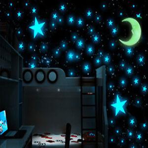 1Moon & 100pcs Star 3D DIY Room Home Glow In The Dark Wall Sticker Accessories