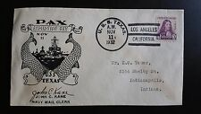 USS TEXAS PAX ARMISTICE DAY Naval Cover Nov 1932  LOS ANGELES Envelope Cachet