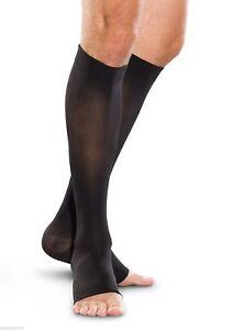 Truform 20-30 Below Knee Compression Stockings Open Toe Black