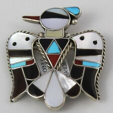Zuni Indian Pendant Pin Thunderbird Bobby & Corinne Shack Sterling Silver Multi