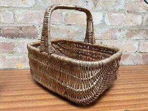 Vintage Wooden Wicker Weave Sunbeam Shopping Basket