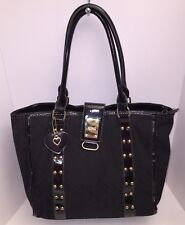 XOXO Handbag Shoulder Bag Black Tote Hearts Signature Med