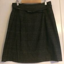 Zara Basic Check Grey A-line Skirt with Belt XS (8-10)